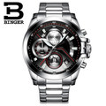 Luxury brand Binger watches men stainless steel business casual sport multifunction men quartz wristwatch waterproof