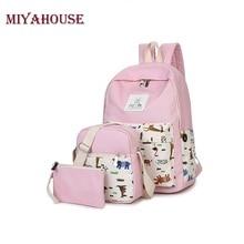 Miyahouse элегантный дизайн рюкзак Для женщин животных печати Рюкзаки для подростков Обувь для девочек свежий Школьные сумки Mochilas 3 шт./компл. сумка