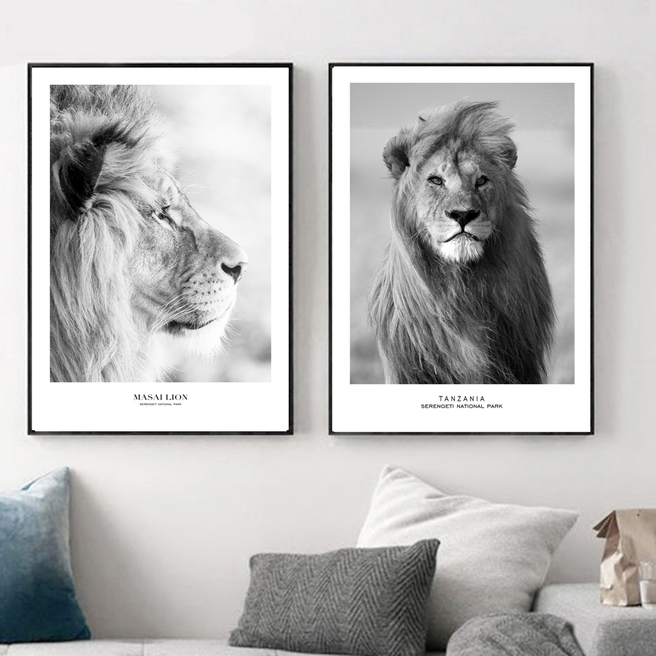Splspl masai lion wild animals posters and prints black and white painting hd print on canvas wall picture for kids room decor in painting calligraphy