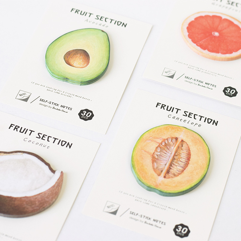 cute round fruit cantelope coconut  sticky note post it sticker wall book art decorative school office stationery memo pad