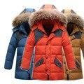 Pato blanco abajo niños niñas chaqueta de invierno parka 2016 nuevas adquisiciones niños outwear de piel con capucha abrigo largo