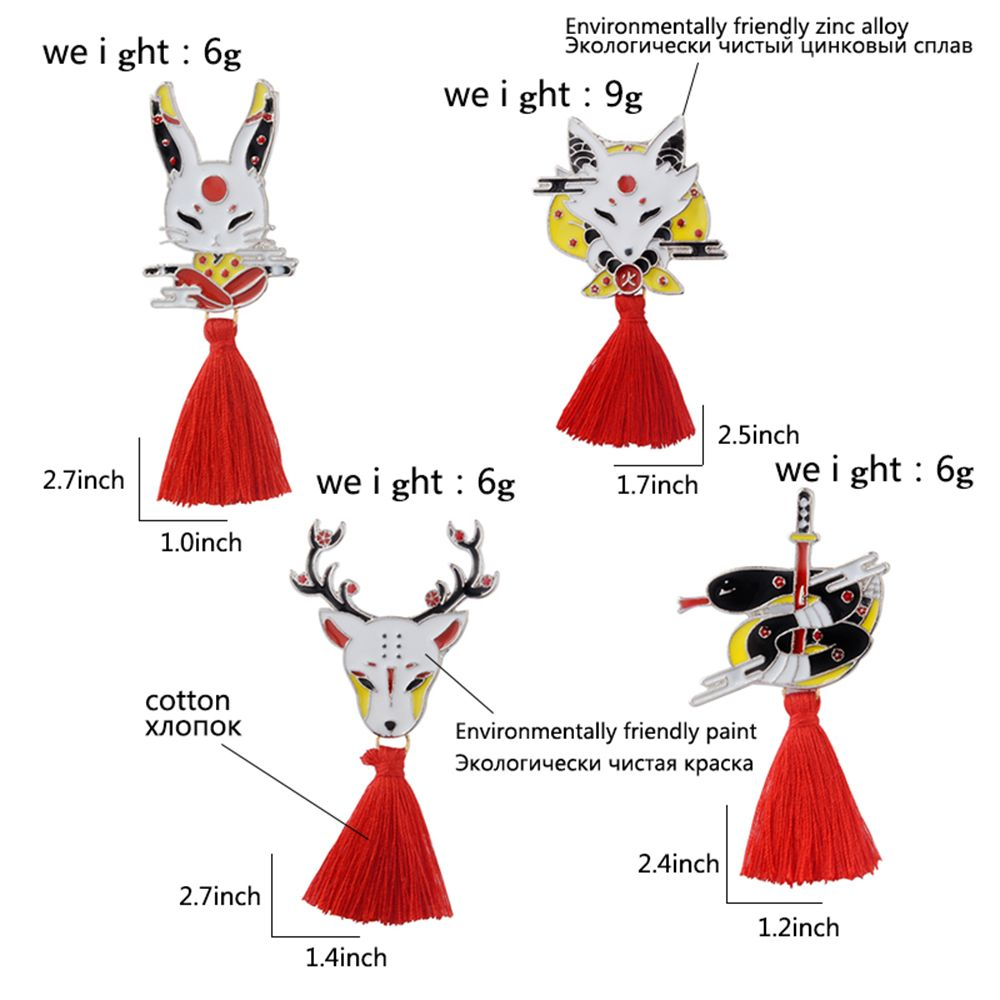 NZP_QIHE-JEWELRY-Kitsune-Pin-Japanese-Deer-Rabbit-Snake-Fox-kabuki-Ninja-Mask-with-Red-Tassel-Brooches