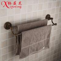 European Retro Luxury Antique Factory Wholesale 100 Bronze Copper Bathroom Toilet Double Towel Bar Towel Rack