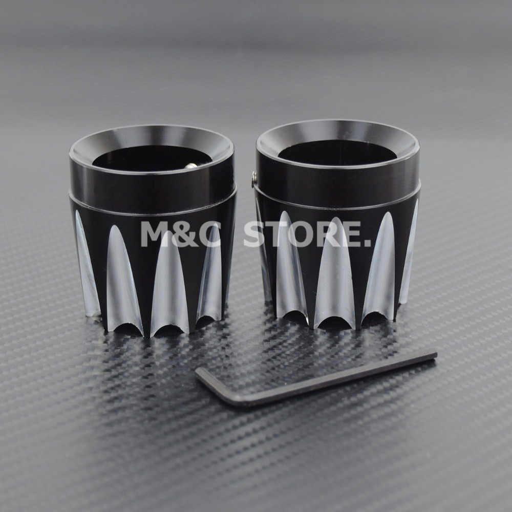 Chrome CNC Deep Edge Cut Excalibur Front Axle Nut Cover For Harley Softail Dyna Fatboy FXS 08-15