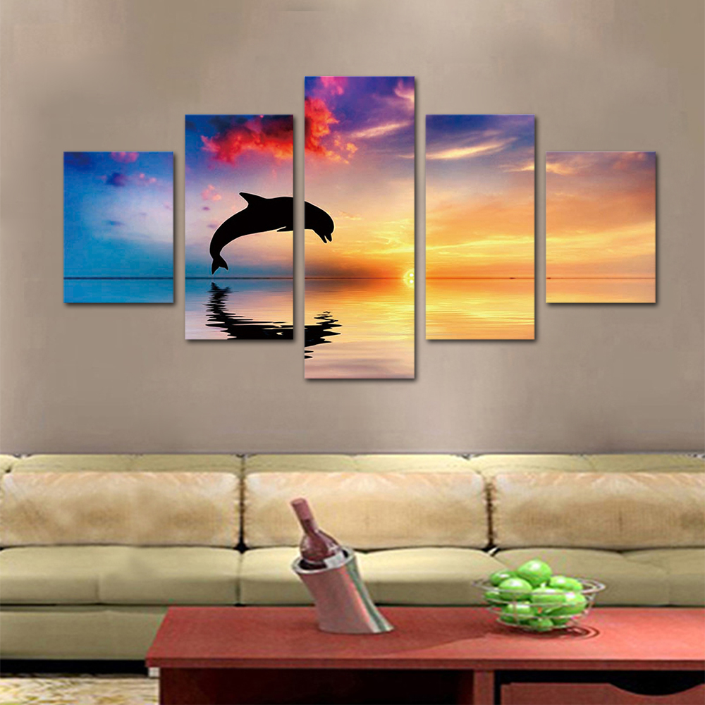 Unframed HD Print 5 Canvas Art Painting Pink Clouds And Dolphins Living Room Decoration Spray Painting Mural Free Shipping