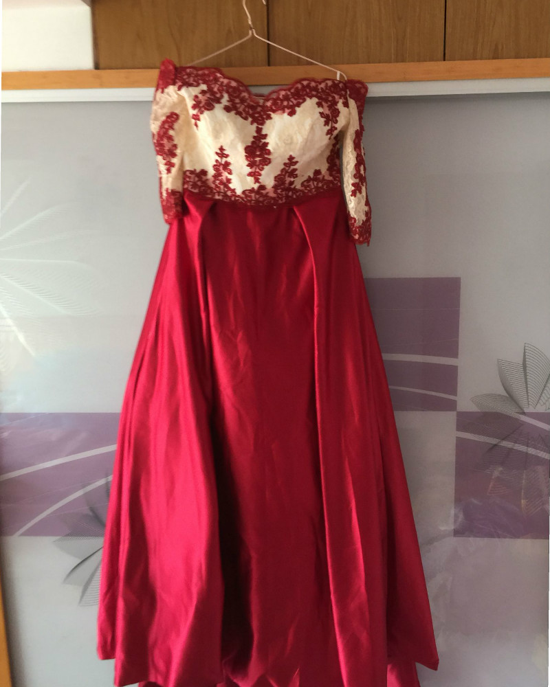 Burgundy Prom font b Dress b font 2016 Lace Appliques Arabic font b Evening b font