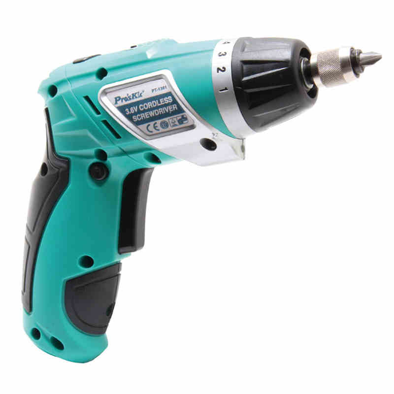 ФОТО PT-1361G Lithium Rechargeable Drill Rechargeable Electric Screwdriver + 2pcs Slotted 2pcs Phillips For PC Home Appliance