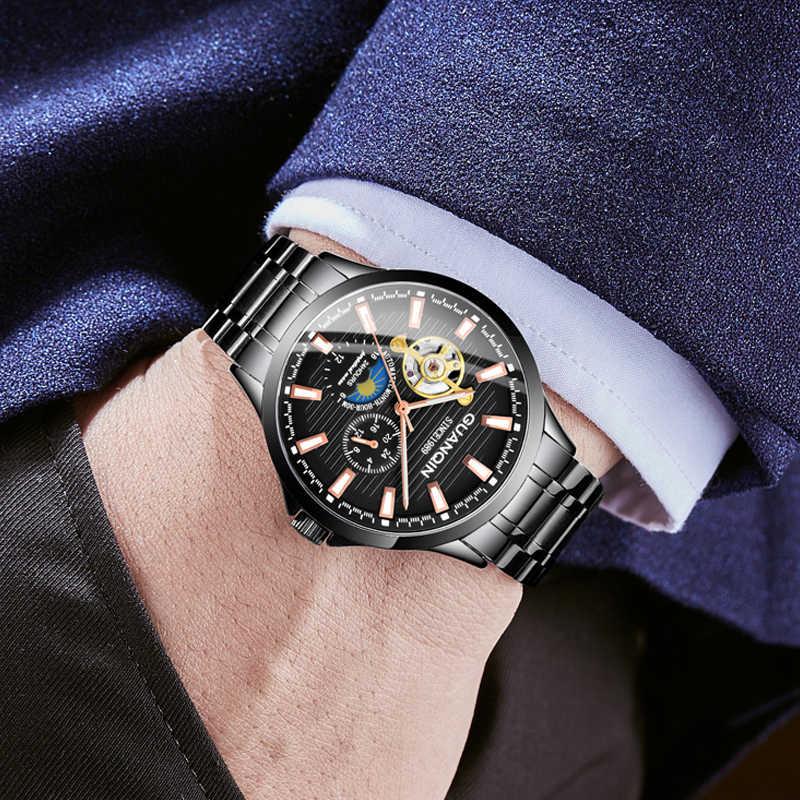 GUANQIN Tourbillon mechanical นาฬิกาข้อมือผู้ชายนาฬิกาข้อมือนาฬิกากันน้ำผู้ชายธุรกิจนาฬิกา relogios masculino