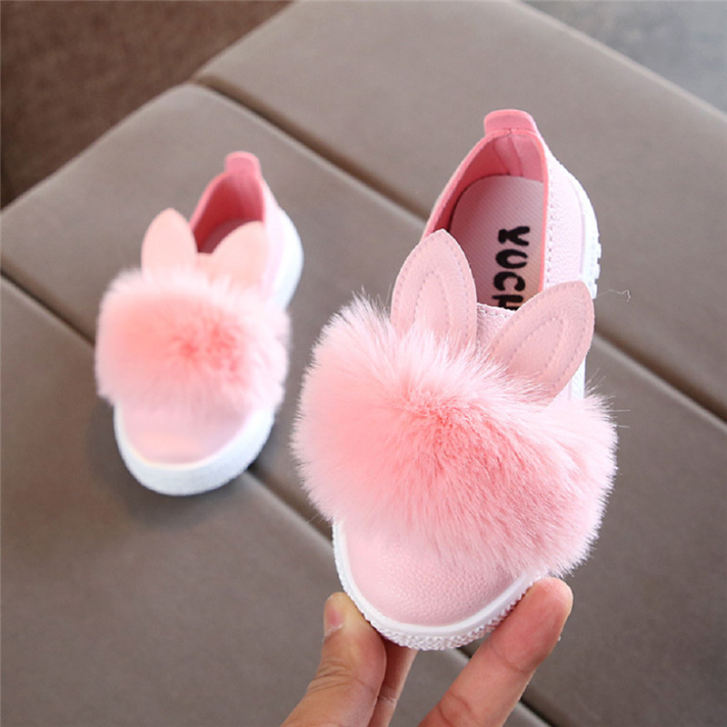 Newborn Baby Shoes Solid Pink Green White Infant Girls Shallow Rabbit Plush Ball Anti Slip Moccasins Non-Slip First Walkers Kids
