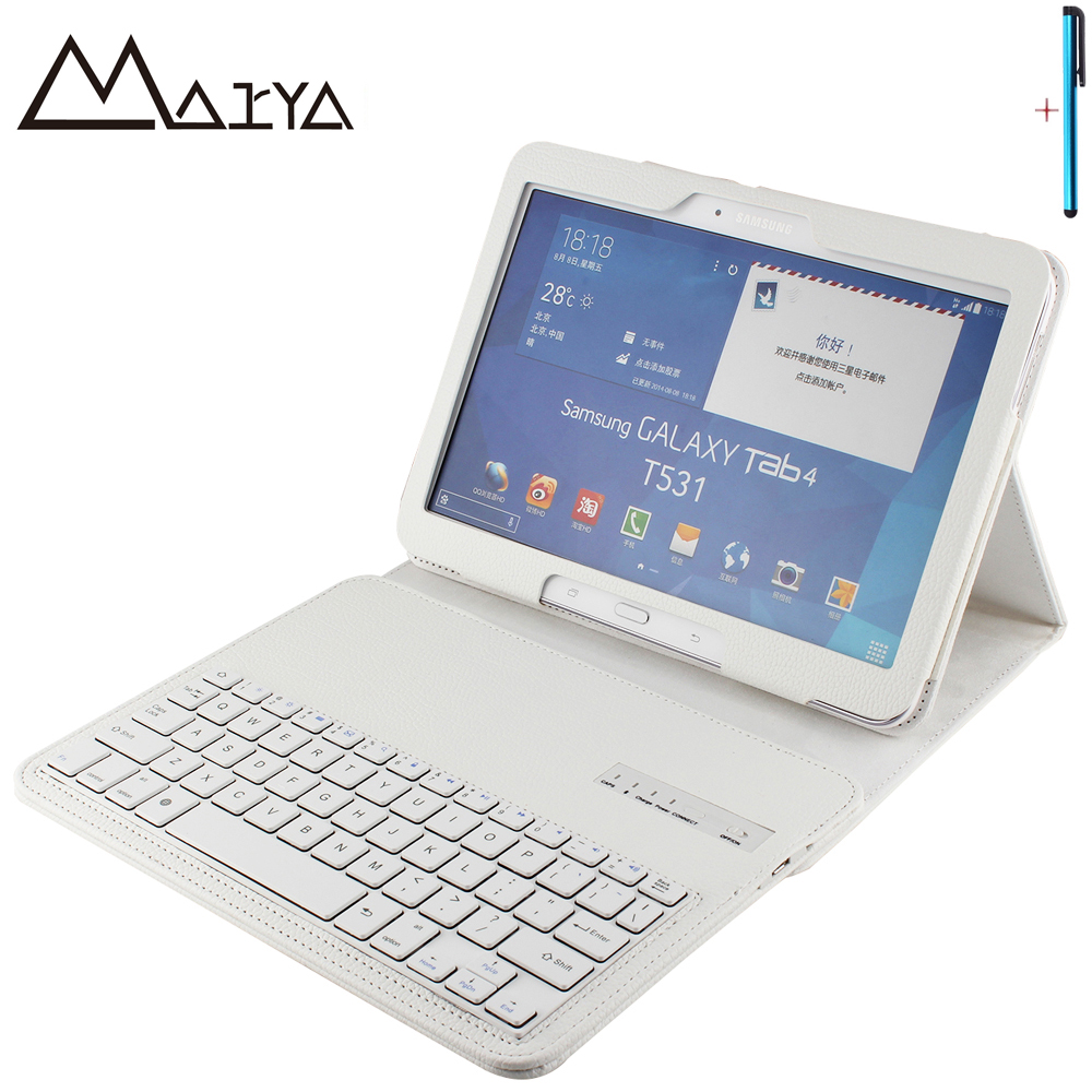 все цены на Keyboard For Samsung Galaxy Tab 4 10.1 T530 T531 T535 Tablet Case Removable Wireless Bluetooth Flip Stand PU Leather For Tab 4 онлайн