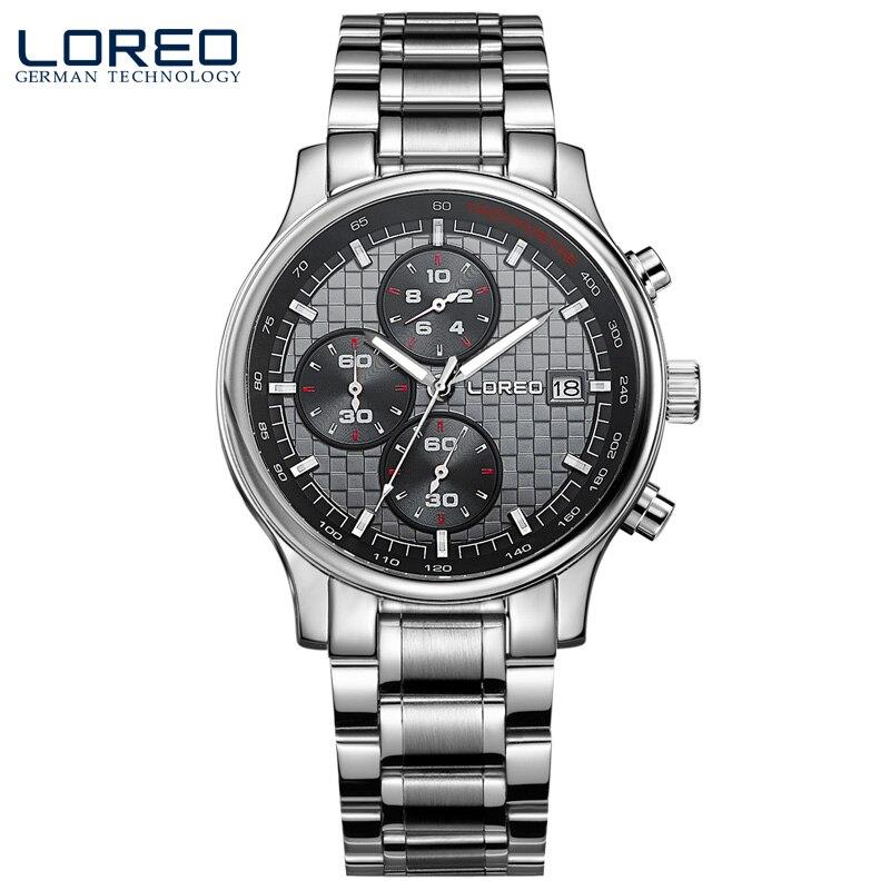ФОТО LOREO quartz sapphire water resistant 5ATM black stainless steel luminous Calendar Chronograph