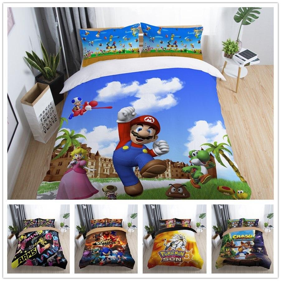 3D Марио переключатель игры постельных принадлежностей король королева полный один размер пододеяльник набор