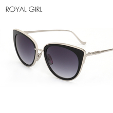 ROYAL CHICA Nueva Cat Eye Sunglasses Women Templos de Aleación de Espejo lente Marca Diseñador Gafas de Sol gafas de sol Oculos Feminino ss463