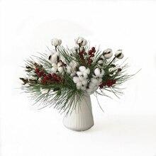 Flores artificiales Рождество сосновая игольчатая ягода хлопок сухой цветок выбирает стебли фермерский дом Рождественский венок гирлянда домашний декор