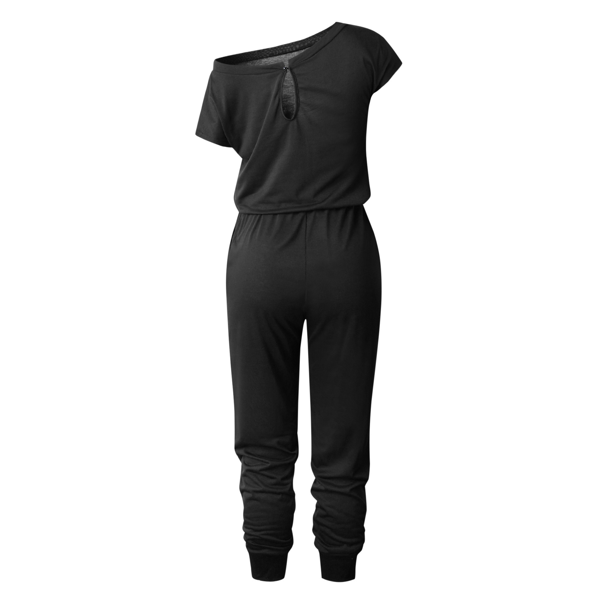 Solid Casual Sexy Off Shoulder Short Sleeve Women Suit 2019 New Arrival Women Summer Fashion Slim Elegant Long Rompers Female 8