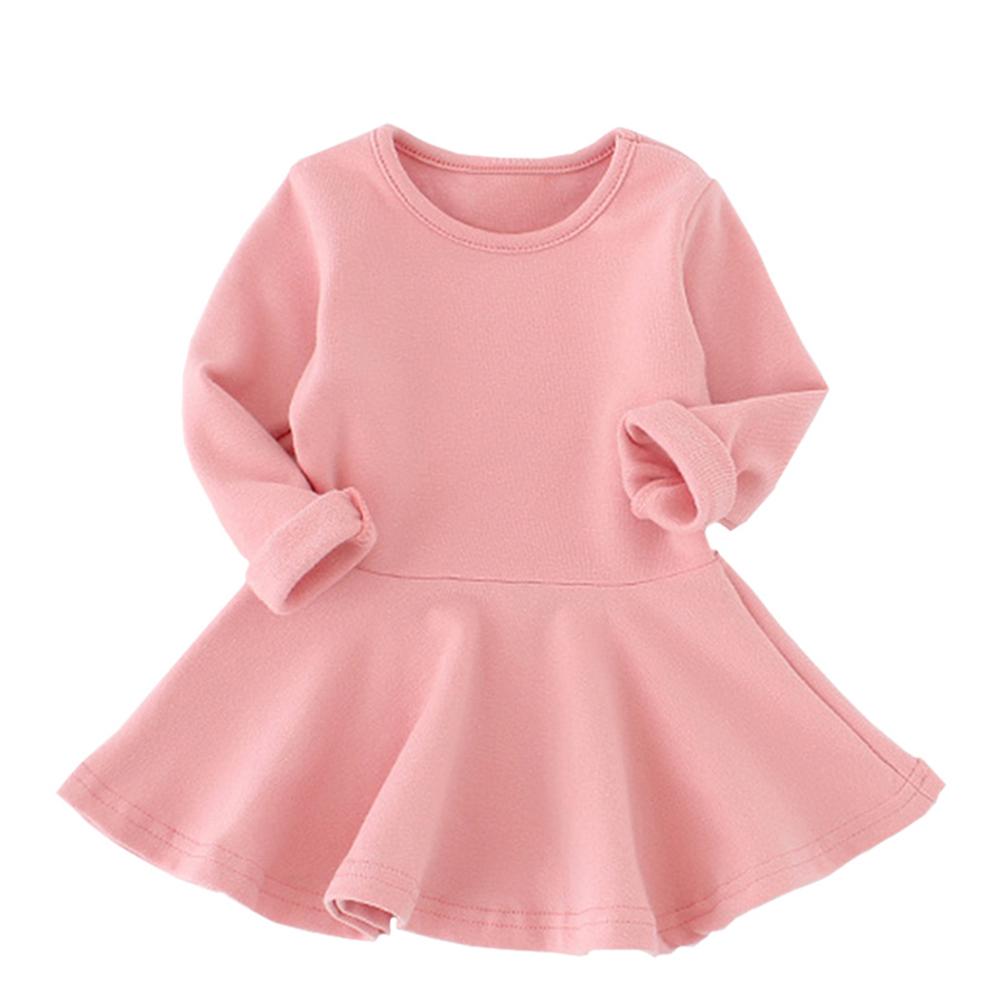Spring Autumn Baby Girl Dresses Candy Color Cotton Long Sleeve Solid Princess Dress Bow-knot O-neck Casual Girls Dress spring autumn girl style dress princess girls dresses high quality cotton kids party costumes solid thicker vestidos zipper bow