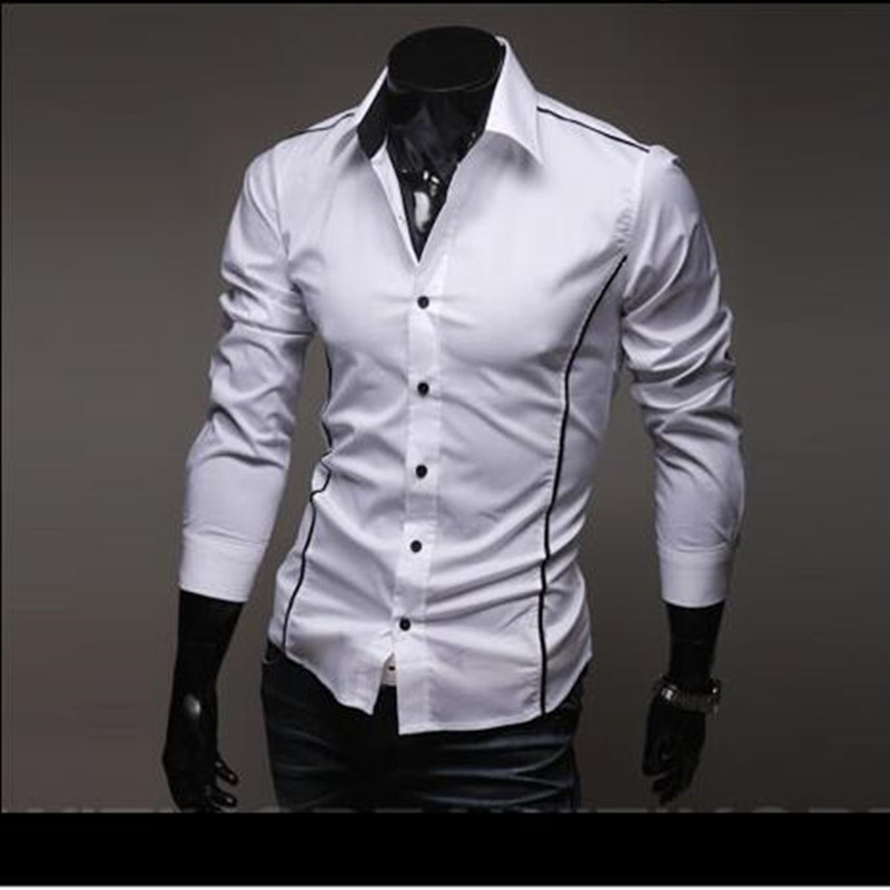 Free Shipping 2016 Brand New style Design Mens Shirts high quality Casual Slim Fit Stylish Dress Shirts 3 Colors Size:M~XXXL5902