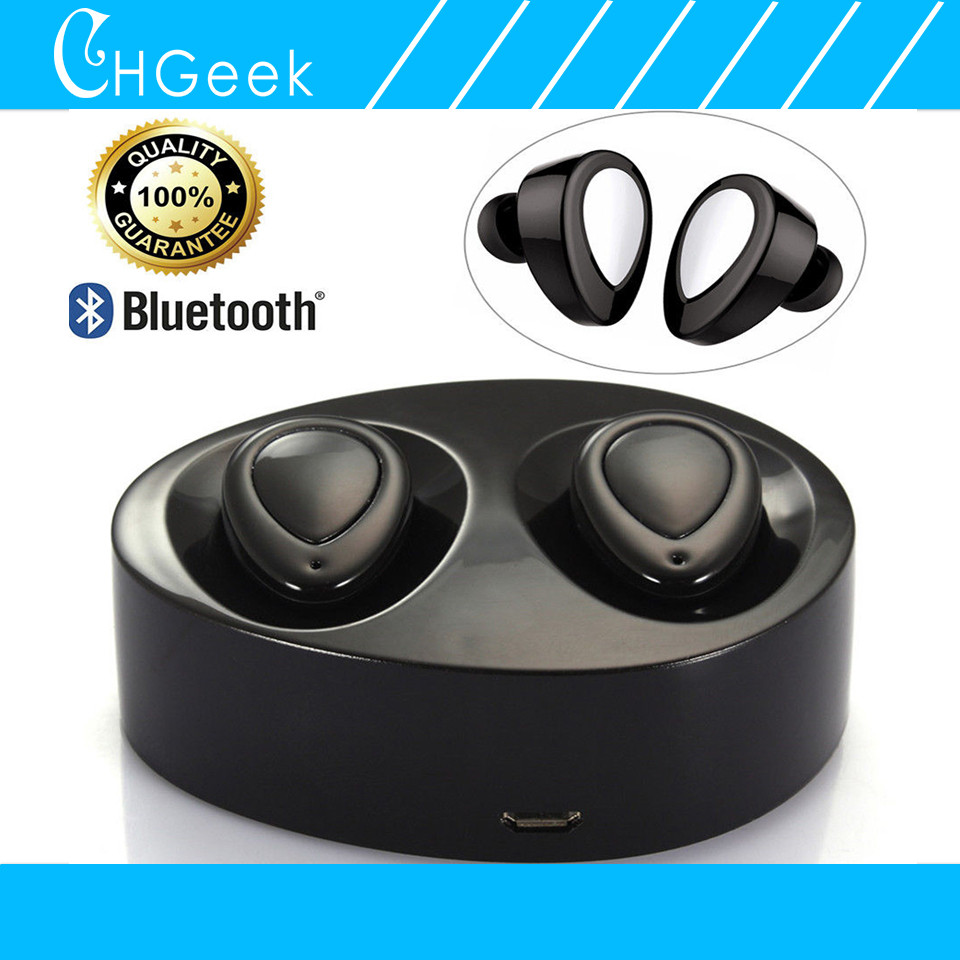 2 Pieces Protable Stereo Wireless Bluetooth Earphones Mini Bluetooth Headset Handsfree Earbuds Earpieces with Charger Dock r6000 portable wireless bluetooth earphone handsfree mini headset stereo earbuds w usb dock car phone charger 2 in 1 for iphone