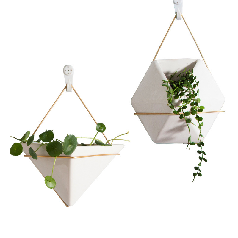 Nordic Ceramic Porcelain Flowerpots With Gold Metal Wall Hanging Suitable for Green Succulent Plants Bonsai Interior Decorations