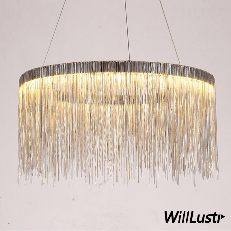 Aluminum chain ring chandelier round pendant lamp fringe chains suspension lighting living sitting room hotel restaurant light stylish bicycle lock and round pendant double sweater chains for women