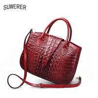 SUWERER 2019 новые женские кожаные сумки Улучшенная воловья натуральная кожа женские сумки Женский известный бренд Роскошная тисненая сумка
