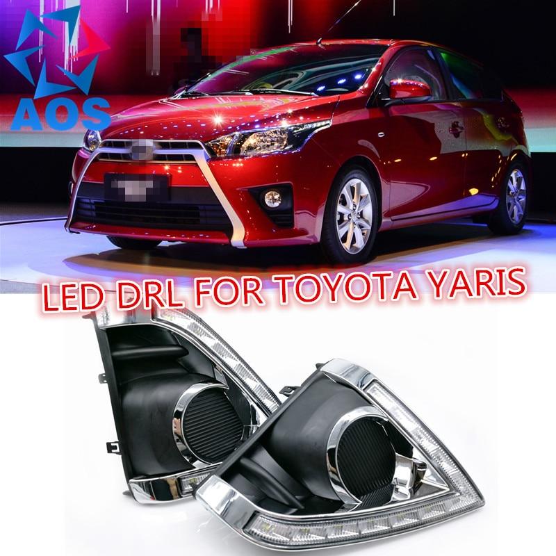 2PCs/set 6000K car daylight LED DRL Daytime Running Lights for Toyota Yaris 2013 2014 2015 auto led drl light hot selling 2 pcs car accessory daytime running lights car styling for k ia k 2 r io 2011 2013