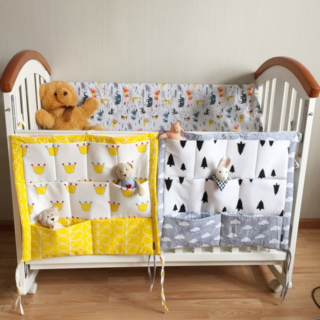 Promotion! 2016 cartoon Baby Bed Hanging Storage Bag Crib Organizer 60*50cm muslin Toy Diaper Pocket for Crib Bedding Set