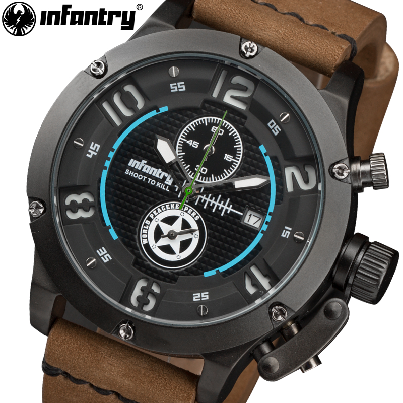 INFANTRY Men Quartz Watch Military Flyback Chronograph Genuine Leather Strap 30M Water Resistant Wristwatches World Peace Keeper seiko watch premier series sapphire chronograph quartz men s watch snde23p1