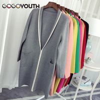 Gogoyouth Long Cardigan Female 2018 New Knitted Autumn Winter Sweater For Women Long Sleeve Coat Jacket Tricot Cardigan Femme