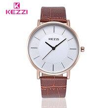 Nueva Kezzi Luxruy DWN amantes de Cuarzo Ronda Relojes de Las Mujeres Vestido de Los Hombres de Cuero Relojes de pulsera de Moda Casual Impermeable Reloj de Oro 1/pcs