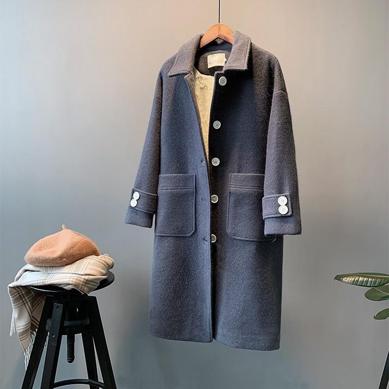Hd4b Femelle Lsh57 Cerise Vent Version Nouvelle Laine Manteau De Section Hepburn Longue D'hiver Coréenne thsdQr