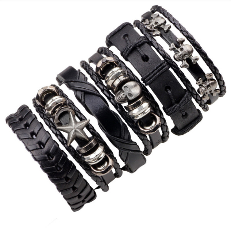 MKENDN 6PCs/Set Leather Bracelet Multilayer Punk Skull Star Charm Wrap Hand Bracelets Vintage Bracelets & Bangles Men Jewelry Браслет