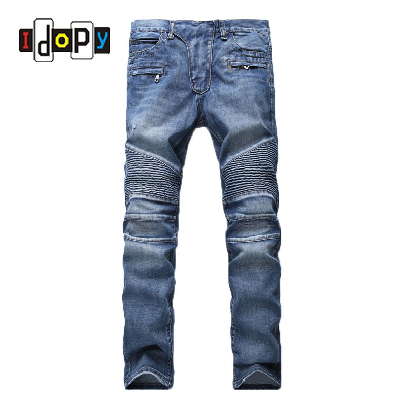 Men's Fashion Brand Designer Ripped Biker Jeans Men Distressed Moto Denim Joggers Washed Pleated Jean Pants Black Blue fashion brand designer mens torn jeans pants hi street ripped denim joggers gray distressed jean trousers man streetwear lq076