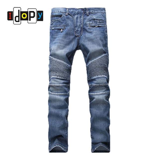 moto pants mens. men\u0027s fashion brand designer ripped biker jeans men distressed moto denim joggers washed pleated jean pants mens