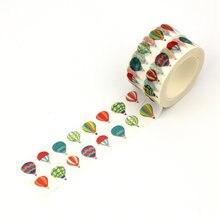 2 pièces/lot, nouveau! Papier Washi décoratif avec ballons à air chaud, 1.5cm x 10m, bande adhésive pour Scrapbooking, fournitures scolaires et de bureau