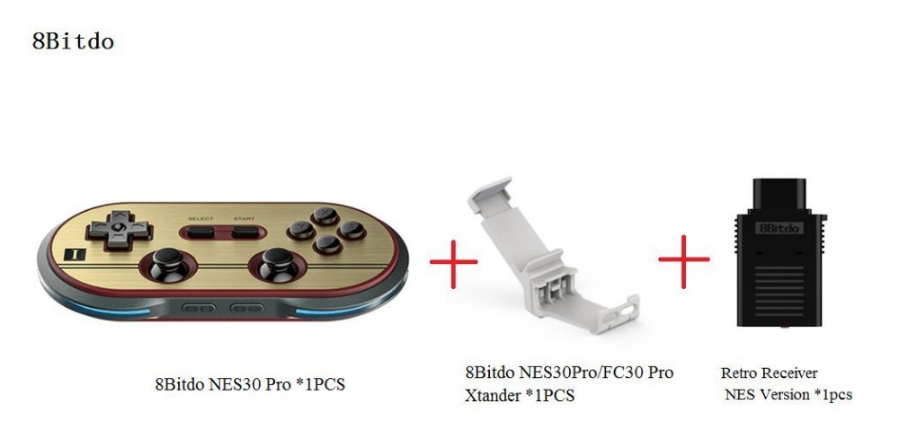 ФОТО Free Shipping 8Bitdo FC30Pro Wireless Bluetooth Gamepad +Xtander+Retro Receiver(NES Version) Support iOS  Android Window Mac OS