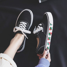 Spring 2019 New Canvas Shoes Women Strawberry Print Solid Co