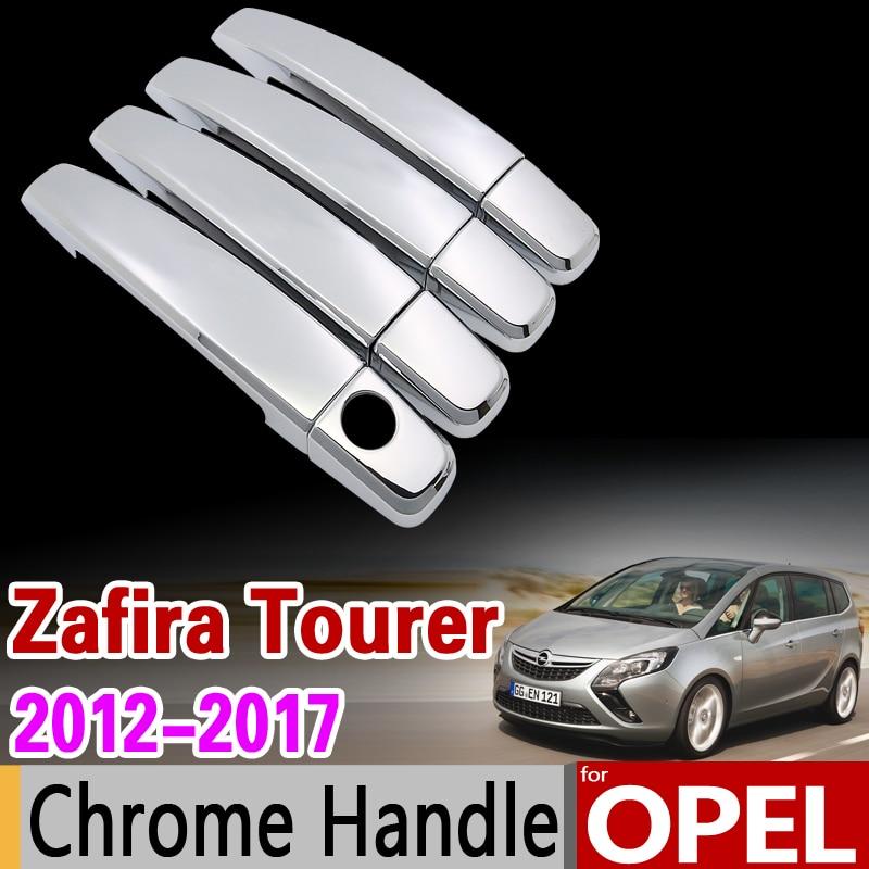 for Opel Zafira Tourer C Chrome Handle Cover Trim Set Vauxhall 2012 2013 2014 2015 2016 2017 Car Accessories Sticker Car Styling for toyota isis platana 2004 2015 chrome handle cover trim set 2005 2006 2007 2008 2010 2012 2013 2014 accessories car styling