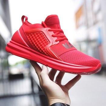 Men's Sport Sneakers Men Comfortable Sports Outdoor Running Shoes Men Sneakers Zapatos corrientes de verano Red chaussure homme