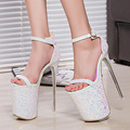 HOT Fashion Summer 20cm Sexy Thin Heels Women Sandals  High Heels Women Shoes Sandals Hot Sales 2 colors SIZE 34-43