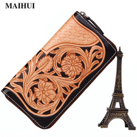 Maihui Long Wallet Handmade Carving Leather Floral Designs Card Holder Pocket New Fashion Single Zipper Purse