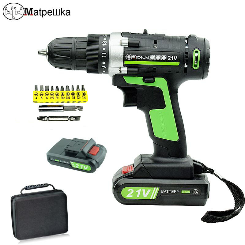 21V Home Cordless Electric Screwdriver Power Tool Lithium-Ion Rechargeable Mini Cordless Drill Double Speed Drill 2 Battery+Gift стоимость