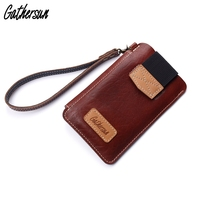 Leather Phone Pouch with Wrist Strap Ladies Mobile Phone Holder Smart Phone Bag Case for iPhone 7 Plus Leather Cellphone Wallet