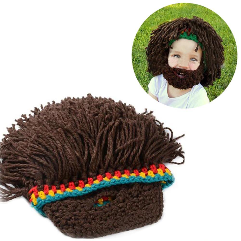 1PC Crazy Brown Beard Wig Shape Hat Handmade Knit Winter