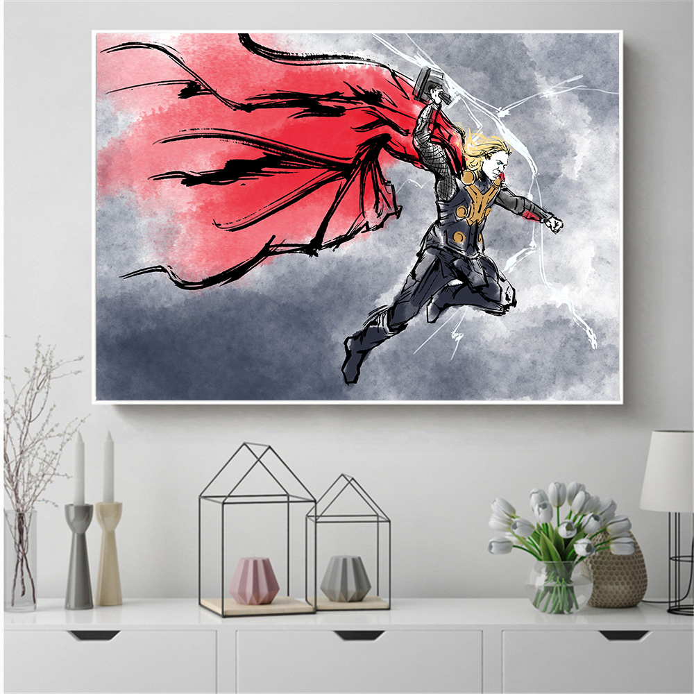 Us 2 99 25 offusa famous movie super hero super man bat man black panther canvas painting wall art oil painting for living room decor in painting