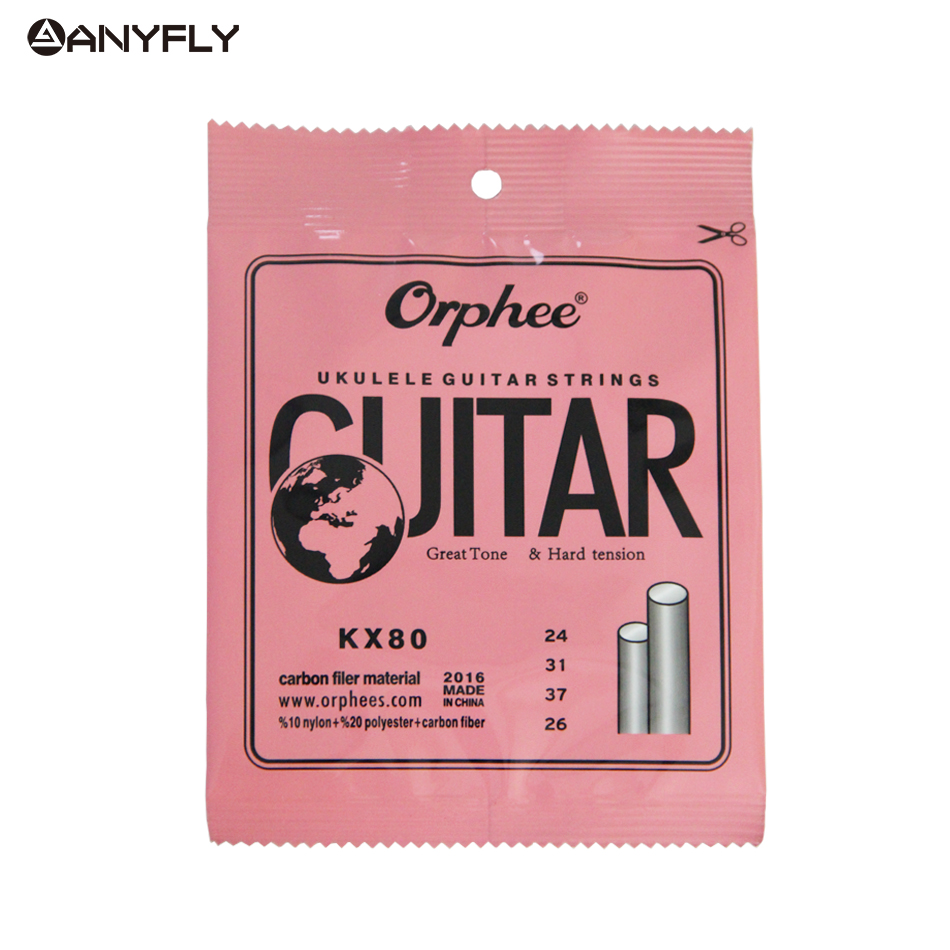 Orphee Professional Clear Nylon White Carbon Fiber Ukulele Strings Hawaii Guitar 4 Strings For Ukulele Soprano Concert Tenor orphee nx35 c full set black nylon classic classical guitar strings hard tension 028 045