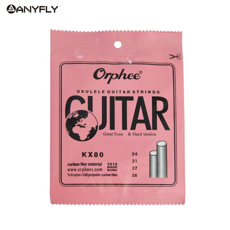 Orphee Professional Clear Nylon White Carbon Fiber Ukulele Strings Hawaii Guitar 4 Strings For Ukulele Soprano Concert Tenor