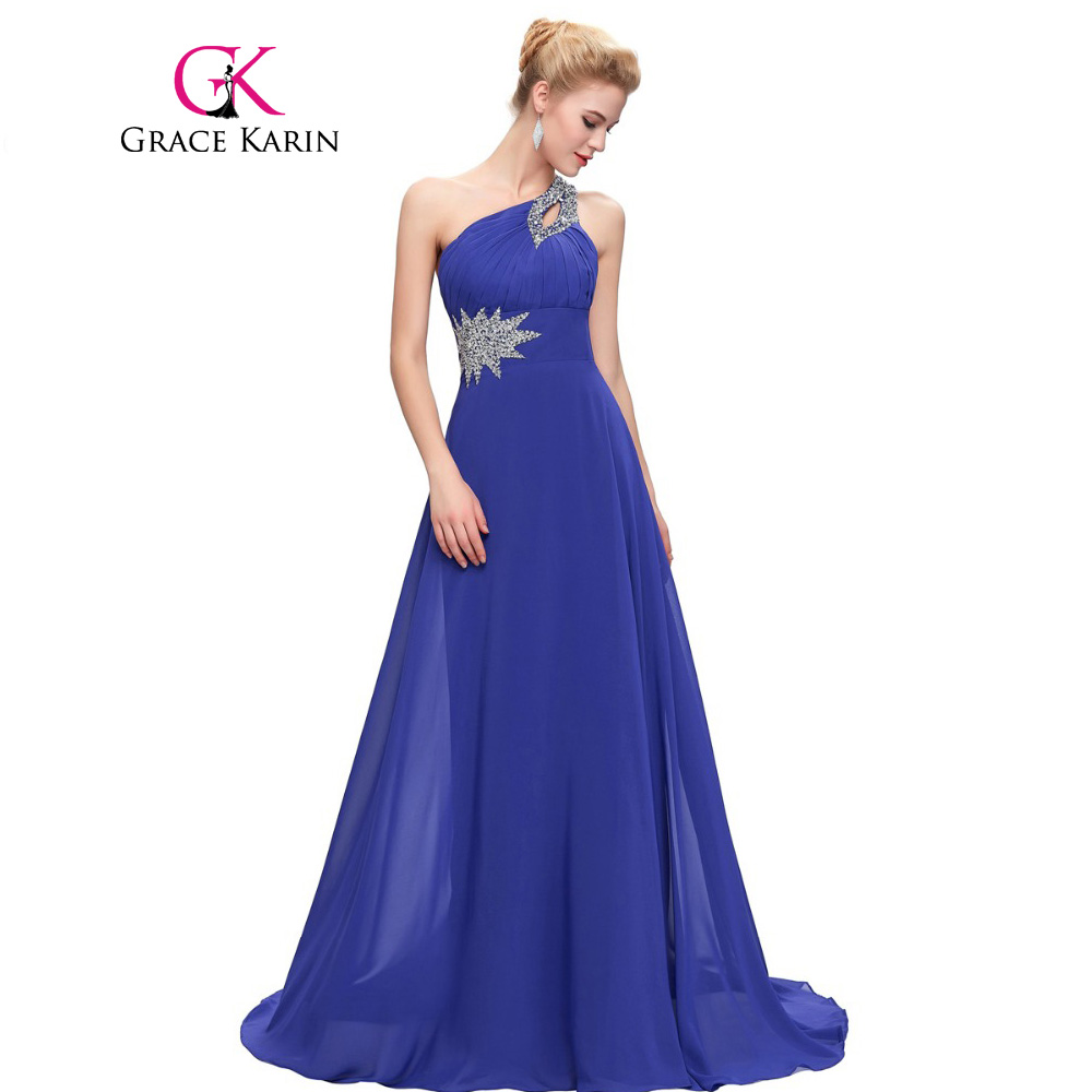 Grace Karin Evening Dresses Long One Shoulder Floor Length Chiffon Formal Prom Dress Gowns Robe de Soiree Longue 2018 grace karin short evening dress cloak cape drape tunic formal celebrity elegant evening party sheath bodycon pencil dress summer