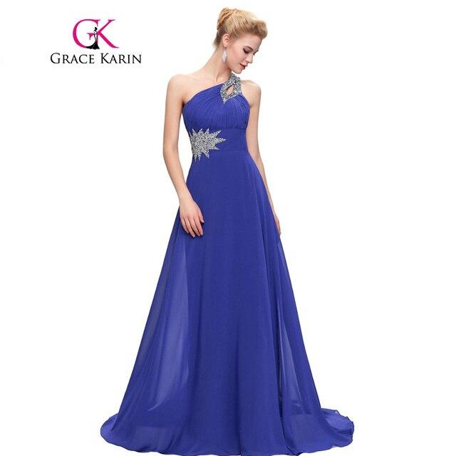 Grace Karin Evening Dresses Long One Shoulder Floor Length Chiffon Formal  Prom Dress Gowns Robe de Soiree Longue 2018 de97ae009371