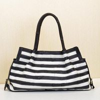 Caerlif Discount brand new fashion female bag bag lady's black and white stripe bag leather cowhide single shoulder bag